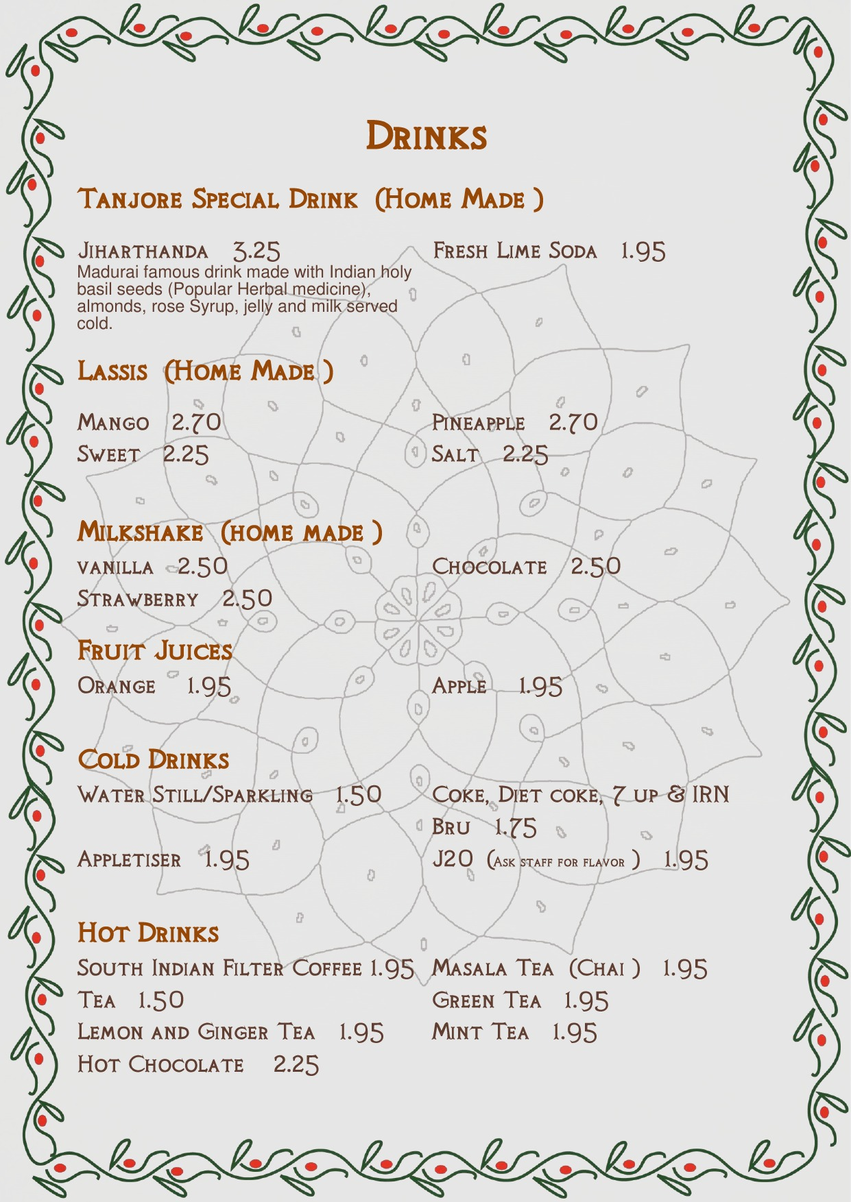 Tanjore Drinks Menu